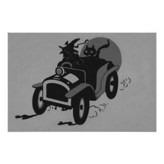 Coche monocromático del gato negro de la bruja cojinete