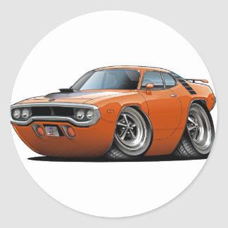 Coche Naranja-Negro 1971-72 del Roadrunner Pegatina Redonda