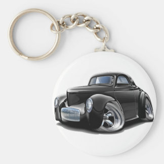 Coche negro 1941 de Willys Llavero Redondo Tipo Pin