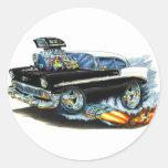 Coche negro 1956 de Chevy 150-210 Pegatina Redonda