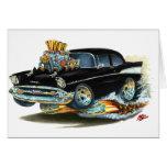 Coche negro 1957 de Chevy 150-210 Tarjeta De Felicitación
