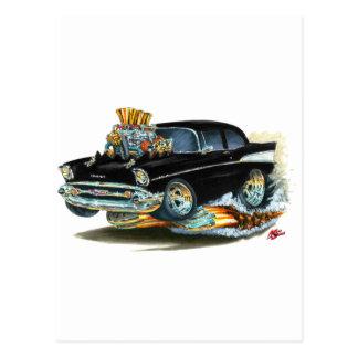 Coche negro 1957 de Chevy 150-210 Tarjeta Postal