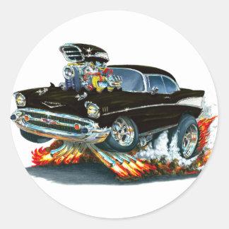 Coche negro 1957 de Chevy Belair Pegatinas