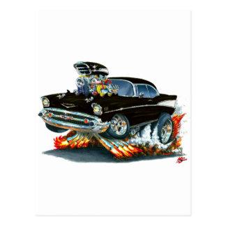 Coche negro 1957 de Chevy Belair Postal