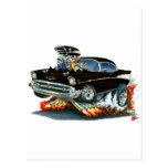 Coche negro 1957 de Chevy Belair Tarjetas Postales