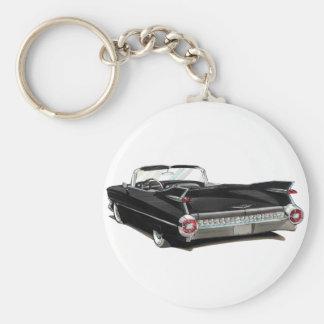 Coche negro 1959 de Cadillac Llavero Redondo Tipo Pin