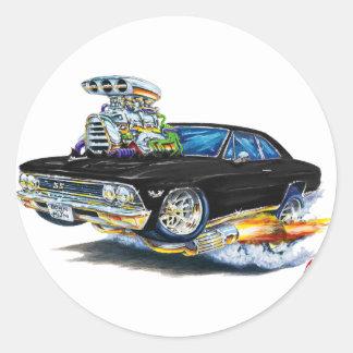 Coche negro 1966 de Chevelle Etiqueta Redonda