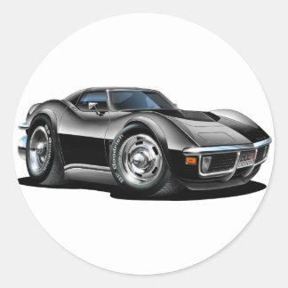 Coche negro 1968-72 del Corvette Pegatina Redonda