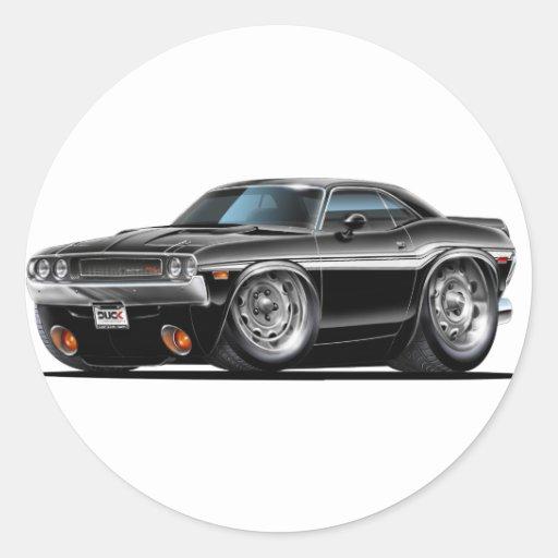 Coche negro 1970 del desafiador etiqueta redonda