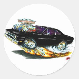 Coche negro 1970 del Roadrunner Pegatina Redonda