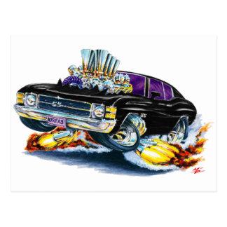 Coche negro 1971-72 de Chevelle Tarjetas Postales