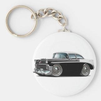 Coche Negro-Blanco 1956 de Chevy Belair Llavero Redondo Tipo Pin