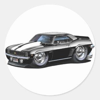 Coche Negro-Blanco 1969 de Camaro Etiqueta Redonda