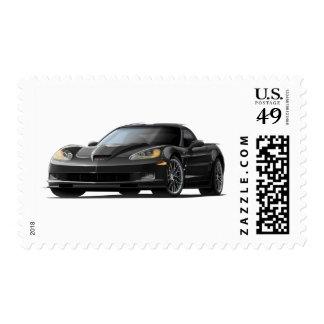 Coche negro del Corvette ZR1 Franqueo