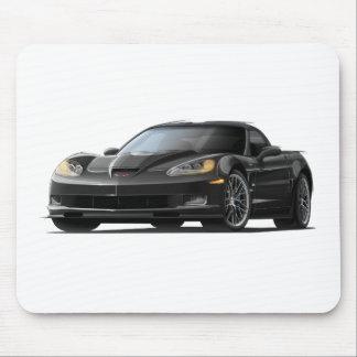 Coche negro del Corvette ZR1 Alfombrilla De Ratones