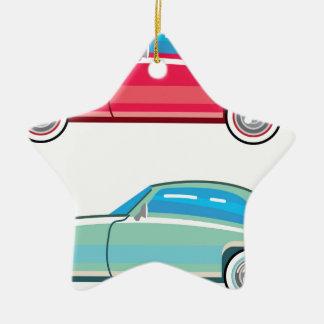 Coche pasado de moda del cupé adorno navideño de cerámica en forma de estrella