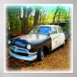 Coche patrulla de la carretera de los años 50 en m impresiones