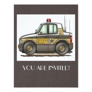 """Coche patrulla del coche del sheriff invitación 4.25"""" x 5.5"""""""
