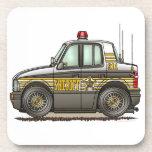 Coche patrulla del coche del sheriff posavasos de bebida