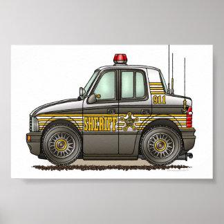 Coche patrulla del coche del sheriff póster