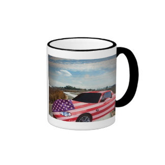 Coche pintado bandera de U S, taza