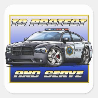 Coche policía 1 del cargador de 2014 Dodge Pegatina Cuadrada