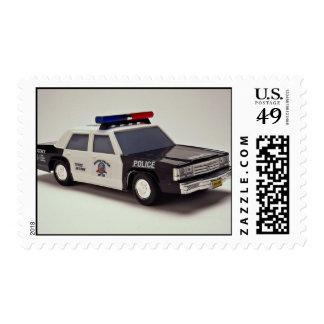 Coche policía blanco y negro sello