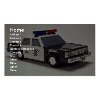 Coche policía blanco y negro tarjetas de visita
