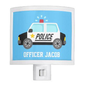 Coche policía clásico con la sirena para el sitio lámpara de noche