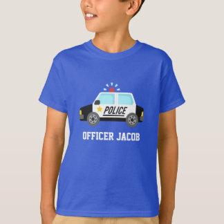 Coche policía clásico con la sirena para los niños playera