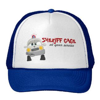 Coche policía con nombre de encargo del sheriff gorro de camionero
