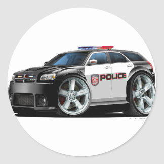 Coche policía de la botella doble de Dodge Pegatina Redonda