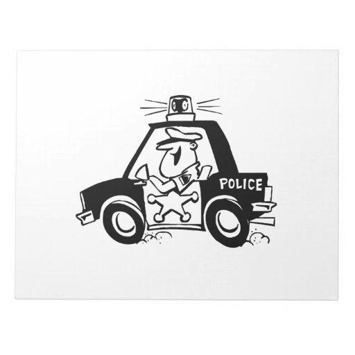 Coche policía del dibujo animado libretas para notas