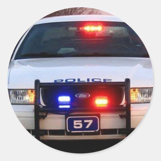 COCHE POLICÍA - encendido todo para arriba Pegatina Redonda