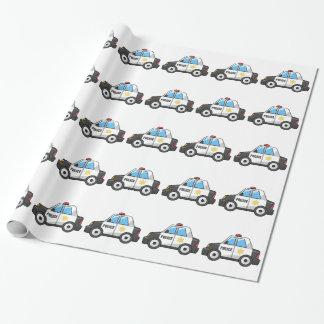 Coche policía fresco del dibujo animado papel de regalo