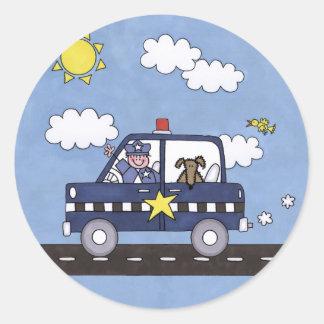 Coche policía pegatina redonda