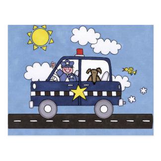 Coche policía tarjeta postal