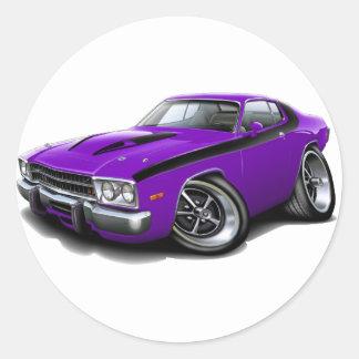 Coche Púrpura-Negro 1973-74 del Roadrunner Pegatina Redonda