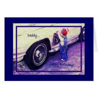 Coche que se lava del niño, cumpleaños, papá tarjeta de felicitación
