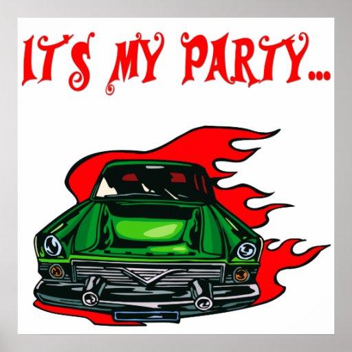 Coche retro de Chevy de los años 50 del poster del