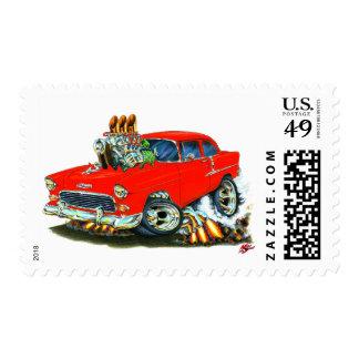Coche rojo 1955 de Chevy 150-210 Sellos