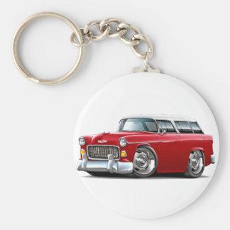 Coche Rojo-Blanco 1955 del nómada de Chevy Llavero Redondo Tipo Pin