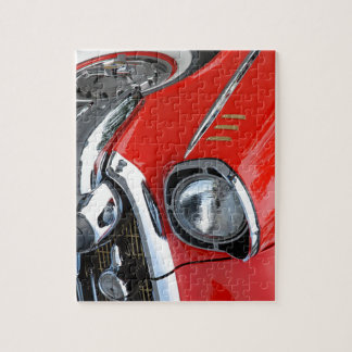 coche rojo clásico del vintage hermoso puzzles