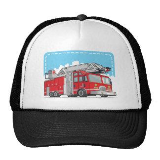 Coche rojo del coche de bomberos o de bomberos gorros
