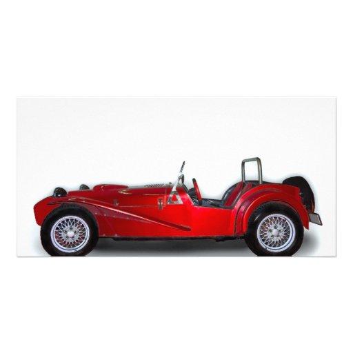coche rojo elegante tarjeta fotográfica personalizada