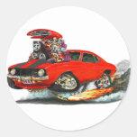 Coche Rojo-Negro 1969 de Camaro Z28 Etiqueta Redonda