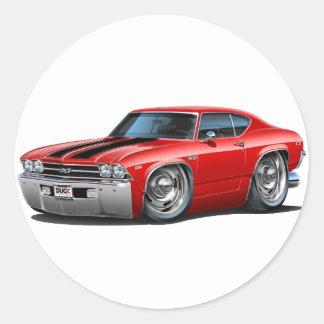 Coche Rojo-Negro 1969 de Chevelle Etiquetas