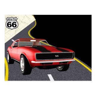 Coche rojo/negro de Camaro - día del coche/de Postales