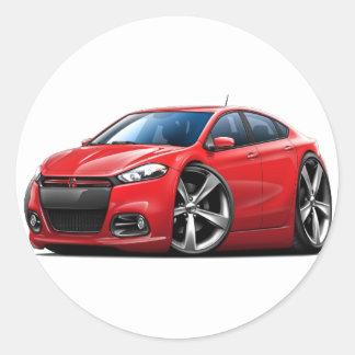 Coche Rojo-Negro de la parrilla del dardo de Dodge Pegatina Redonda