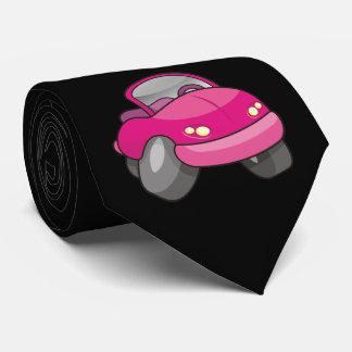 Coche rosado del dibujo animado corbatas personalizadas